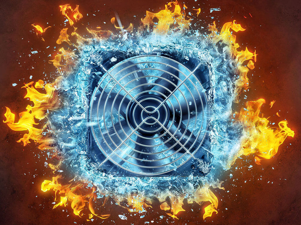 Cooler power Ad Visual fire freezes to ice / Lauktien & Friends, digital Artwork