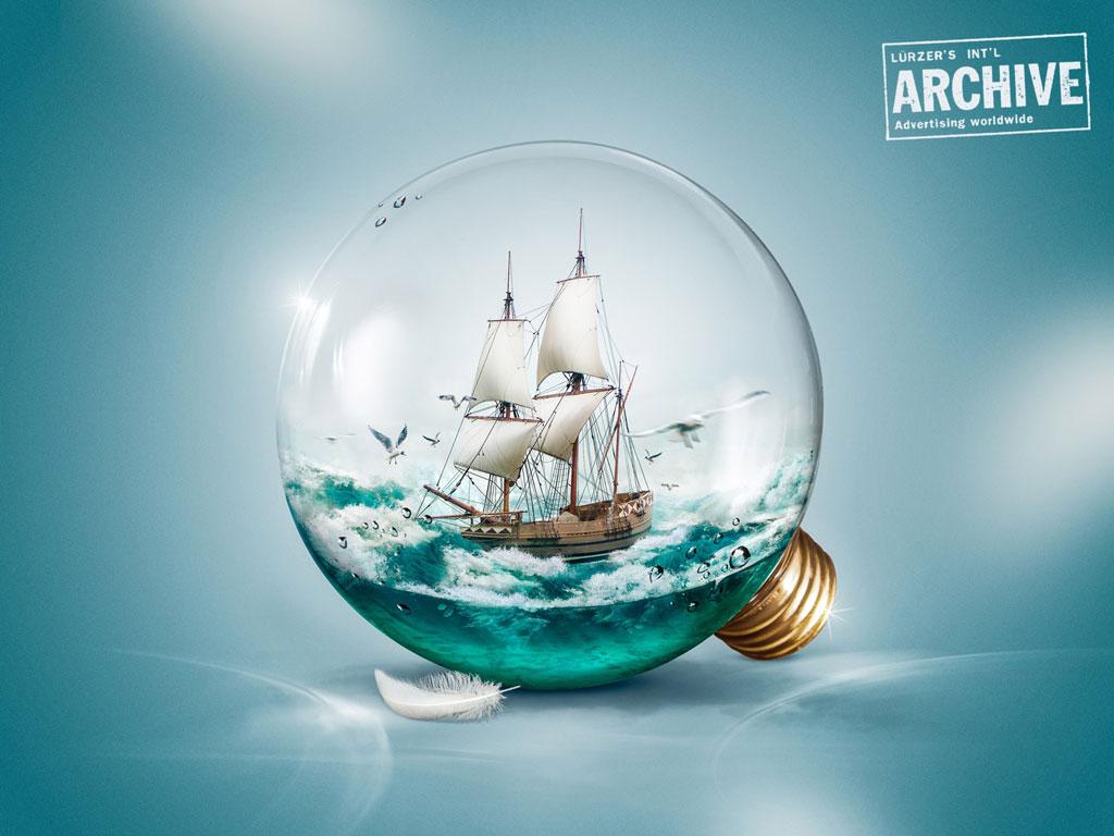"""""""Sailer in a light bulb"""" ausgezeichnetes Photoshop Composing von Lauktien & Friends. Lürzer's Archive, 200 best digital artists worldwide."""