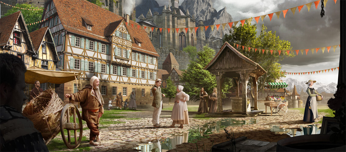 Digital Painting by photoshop artist ruediger lauktien / medieval town